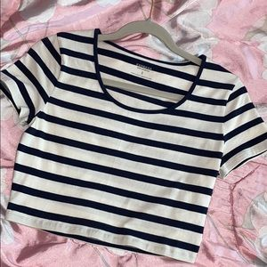 Express Navy Blue and White Stripes Crop Too Tee